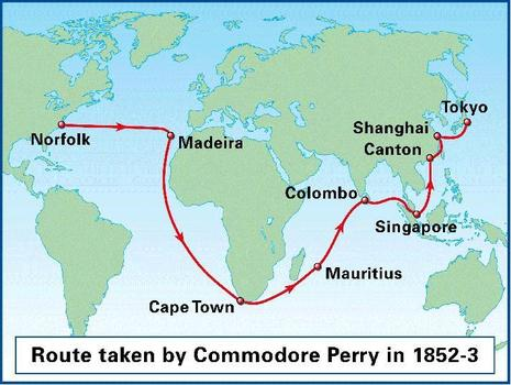"""commodore perrys journey to japan Japan's adoption of the """"closed country"""" policy in the early-17th century involved not merely keeping foreigners  under the command of commodore perry,."""